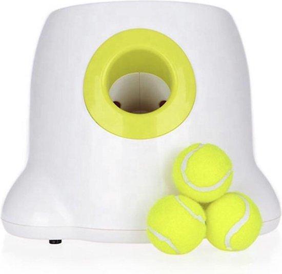 Automatische Ballenwerper voor Honden - Ballenschieter - Werkt op batterijen en lichtnet - Honden Speelgoed Intelligentie - Wit - Inclusief 3 Tennisballen